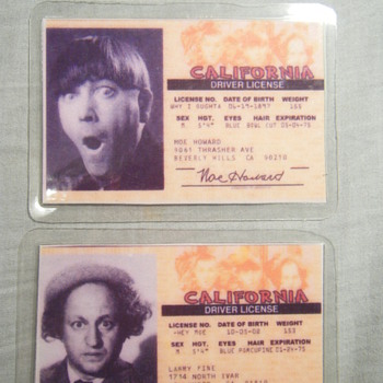 THE THREE STOOGES Moe Howard - Larry Fine's Driver Licenses