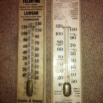 Valentine's Varnishes Thermometer/Farmers Mutual Fire Thermometer - Advertising