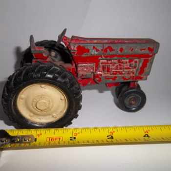 Vintage toy red farm tractor - Model Cars