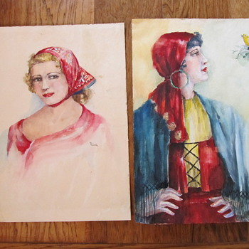 Palmer signed Watercolors of Beautiful Women Spanish Bird - Folk Art