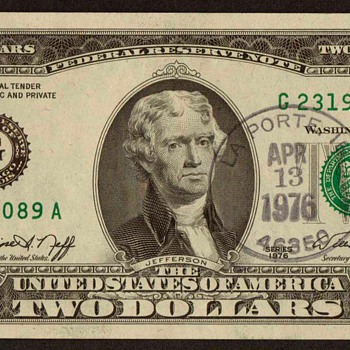 1976 - U.S. $2 Banknote - First Day Issue - US Paper Money