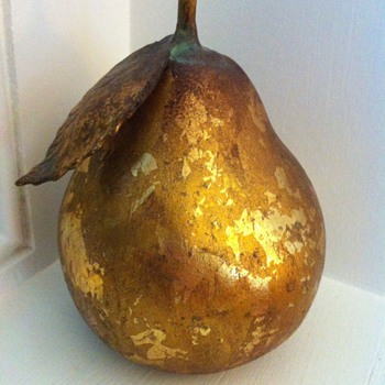 Gilded (ceramic)? Pear with metal leaf