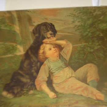 Dog and child print; Fulton Street New York City