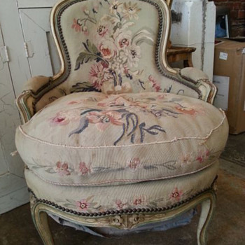 French victorian down filled needle point chair. - Victorian Era