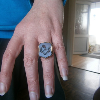 victorian intaglio bloodstone ring