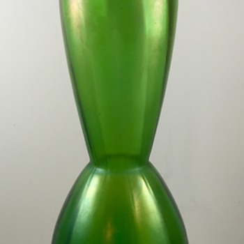 Glasfabrik Schliersee green rib optic vase, PN 282/I, ca. 1910