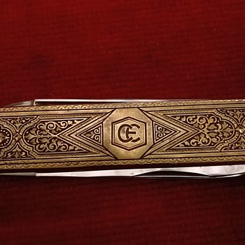 1960s German Solingen Etched Brass & Steel Toledo Folding Pocket Knife