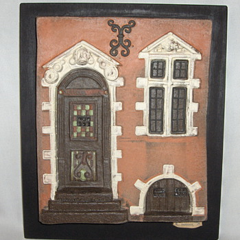Unusual Recent Vintage Danish Mounted Pottery Tile Housefront - Hytholm - Art Pottery