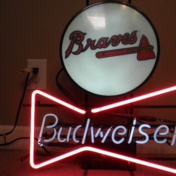 Budweiser Bowtie and Atlanta Braves sign cir. 1992 Union Made