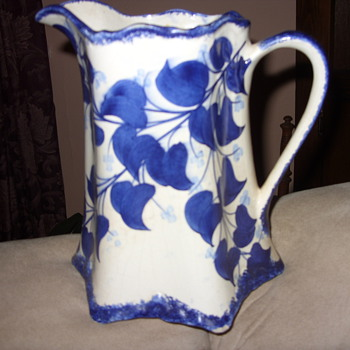 1945 colbalt blue buttermilk pitcher - Art Pottery