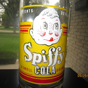 1930's Spiffy Cola A Swell Drink 32 Fl Ozs Quart ACL Soda Bottle General Beverage Co. Detroit Mich.  - Bottles