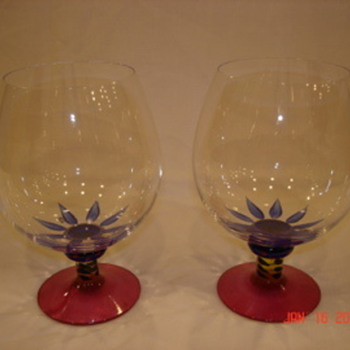 Kosta Boda Cognac Glasses & Vase - Art Glass