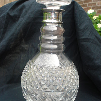 Decanter crystal + silver