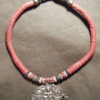 ANTIQUE INDIAN TRIBAL STERLING SILVER AMULET hm'ed - Fine Jewelry