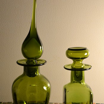 Two Beautiful Green Bottles - Art Glass