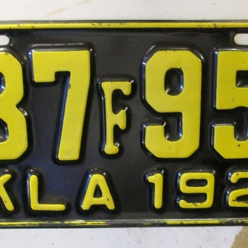 Oklahoma 1927 license plate - Classic Cars
