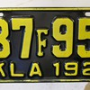 Oklahoma 1927 license plate