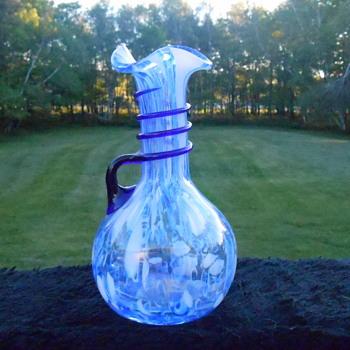 Blue and White Ruffled Pitcher - Art Glass