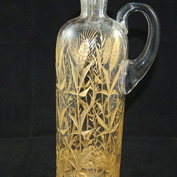 Antique decanter with gold wheat motif