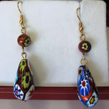 VINTAGE VENETIAN MILLEFIORI GLASS BEAD EARRINGS