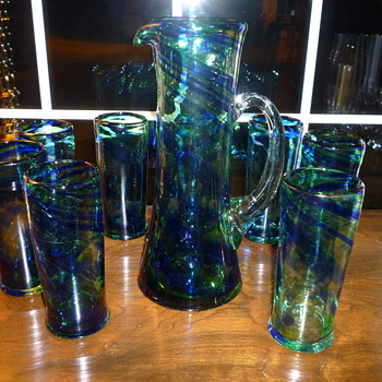 Antique Art Glass Pitcher and Glasses  - Art Glass