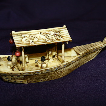Ox Bone Carving Asian Boat  - Asian
