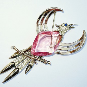 40s Trifari Sterling Huge Paradise Bird Rhinestone Jelly Belly Brooch Pin - Costume Jewelry