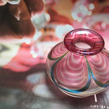 Signed iridescent vase spiman pl243-750 1990  ? - Art Glass