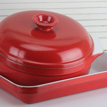 Emile Henry bakeware; covered casserole and roaster