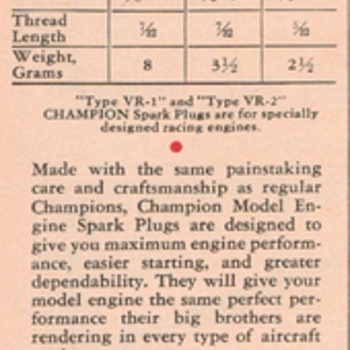 1942 - Champion Glow Plugs Advertisement