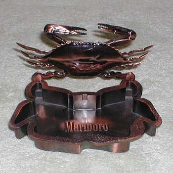 """Marlboro"" Bronze Ashtray & Crab Lighter"