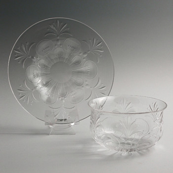 Mystery Cut Crystal Finger Bowls & Underplates, set of 6