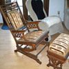 Antique rail rocker and foot stool