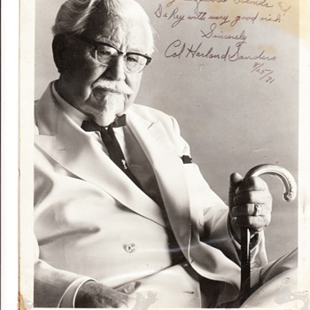 Signed and dated picture of Col. Harland Sanders - Photographs