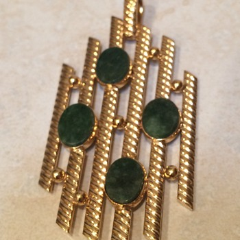 Vintage Abstract gold filled and jade pendant