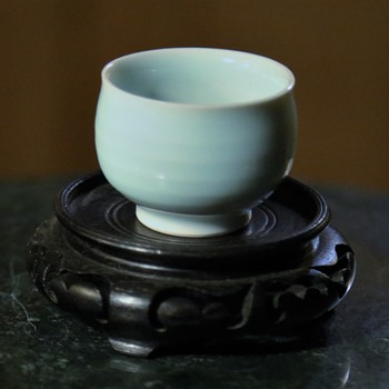 Tiny Little Wheel-thrown Porcelain Sake Cup in a Light Blue Glaze - Asian