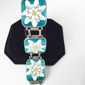 Silver Enamel Guilloche' Floral Link Bracelet 1930s