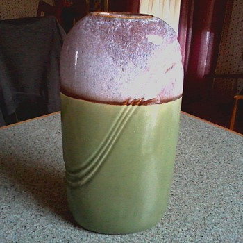 "Deco Style  9"" Art Pottery ""Pillow"" Vase/ Tu-tone Drip Glaze over Green /Circa 20th Century - Art Pottery"
