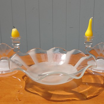 Frosted bowl and Candlesticks - Art Glass