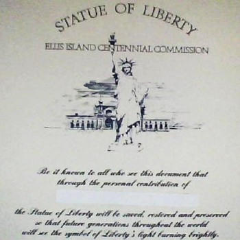 Statue of Liberty - Ellis Island Centennial Commission Certificate