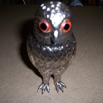 Vintage Silver Sugar Shaker- Owl with Glass Eyes
