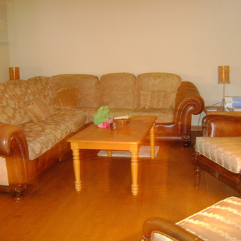 Brocaded Silk and Leather sectional w/ matching chairs w ornate wood Carving - Furniture