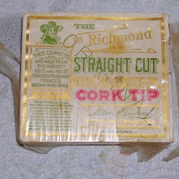 Unopened Vintage Allen Ginser Richmond straight cut no 1 cork tip cigarettes  - Tobacciana