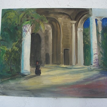 1958 Painting;  Church Scene,  Havana, Cuba, signed Crowley.   - Visual Art