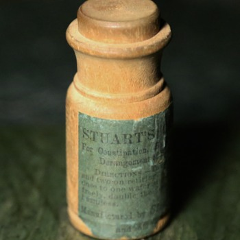Turned Wood Mock Pill Bottle - Stuart's Calcium Wafers - Advertising