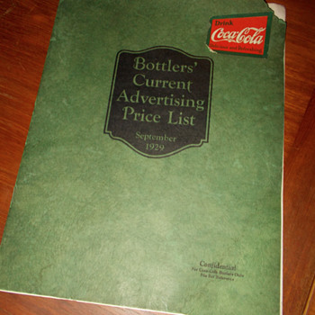1929 Coca-Cola Bottlers Advertising Price Guide