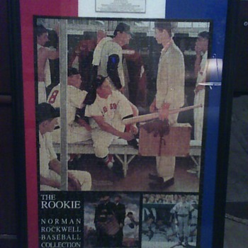 "Framed Norman Rockwell Baseball Collection Puzzle ""The Rookie"" - Baseball"