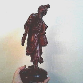 "Chinese 14"" Carved Wood Figure / Marked / Unknown Age - Asian"