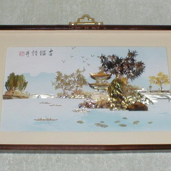 Chinese MOP/Shell Art - Pagoda Scene - Asian