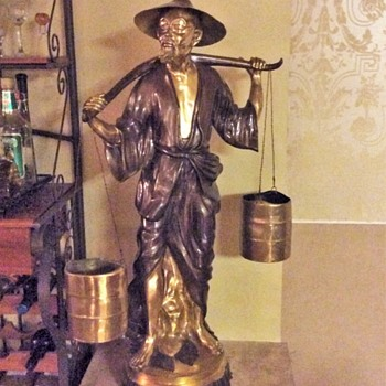 Japanese Statue of old man carrying two buckets of water 1930s-early40s
